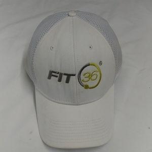 Fit36 White baseball cap, w/sliver-green logo